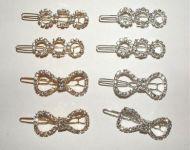 Rhinestone Ribbon Barrettes Silver